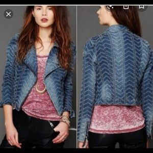 Free People punch out design denim jacket